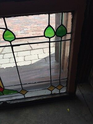Sg 550 Antique Arts And Crafts Stained And Leaded Transom Window 4