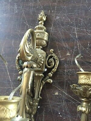 Lc 9 1Pair Antique Heavy Brass Three Arm Wall Sconce 6