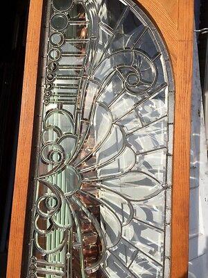 Sg 293 Amazing Zinger Beveled Glass Arched Transom Antique