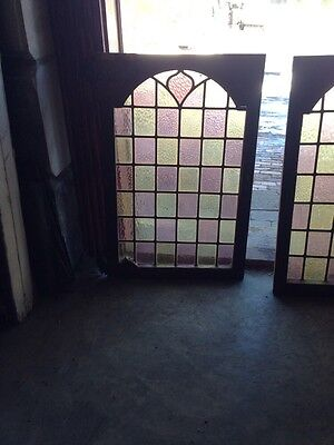 Sg 110 One Pair Antique Stain Glass Cabinet Doors With Nice Brass Hinges 2
