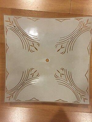 "Vintage Ceiling Light 12"" Square, Brass/Glass Retro Renovation 6"