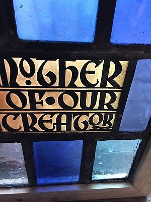 Sg 1067 Antique Stainglass Painted And Fired Window Mother Of Our Creator