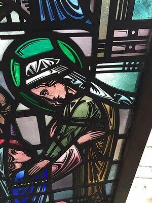Sg 624 Very Beautiful Antique Religious Figure Window 4 Figures 6