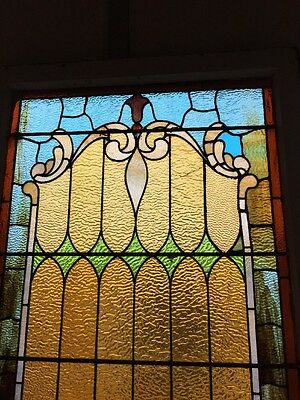 """antique Stained Glass Landing Window 36"""" X 8' 2"""