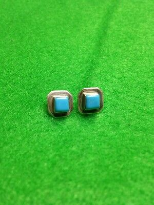 Genuine Handmade Indian Turquiose Sterling Silver Square  Post Earrings