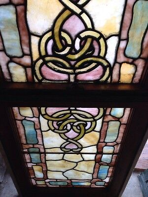 Sg 193 Antique Rudy Brothers Double Hung Stained Glass Landing Window 3