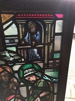 Sg 624 Very Beautiful Antique Religious Figure Window 4 Figures 2