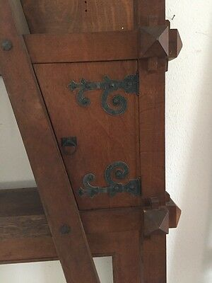 Antique Quartersawn Oak Fancy Mission Mantle With Clock 6