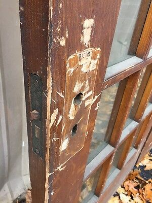 Pd1 Pair Antique Pine Wood Grain Interior French Doors Oversize 5