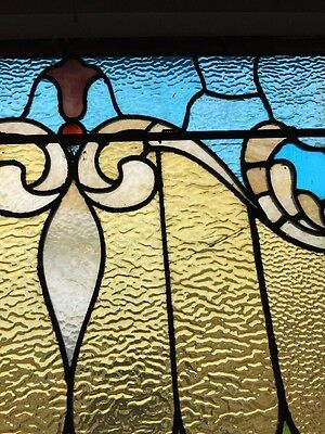 """antique Stained Glass Landing Window 36"""" X 8' 10"""