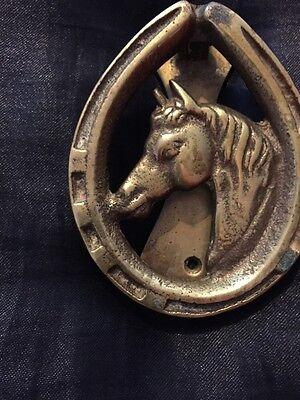 Great Vintage Brass Horses Head Door Knocker 3