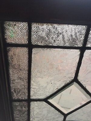 Sg 851 Antique Beveled Glass Textured Glass Transom Window Nice 5