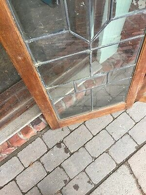 Sg 953 Matched Pair Antique Beveled Glass Leaded Glass Bookcase Doors 9