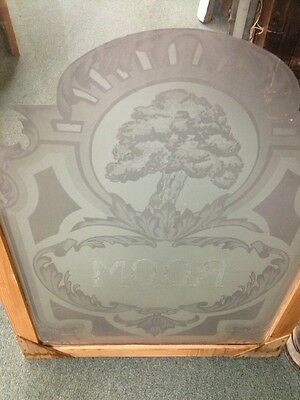 Antique Old Vintage Craftsman Art Deco Style Etched Glass Window Oak Tree Room 5