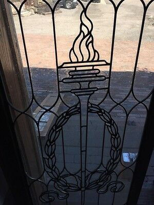Sg 794 Antique Torch And Wreath Leaded Glass Window 4