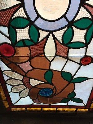 Sg 365 Amazing Pressed Jewel Turn-Of-The-Century Antique Stainglass Window 4