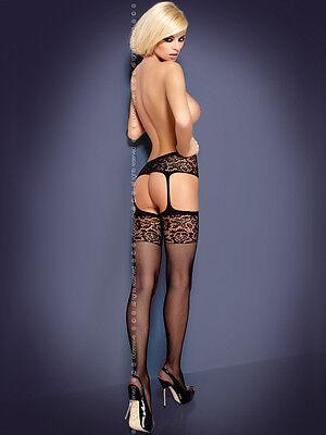 Obsessive Garter Stockings S500 - Florales Design - Schwarz 2