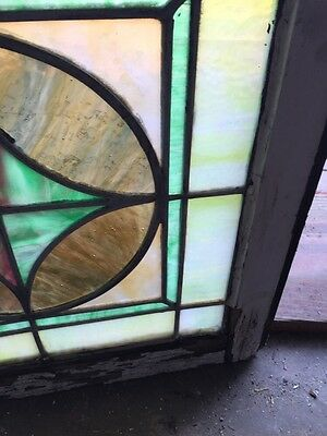 "Sg 593 Antique 20"" X 20"" Pastel Stainglass Window 5"