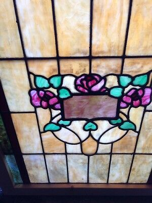 Sg 120 Antique Stain Glass Windows Roses And Foliage 2