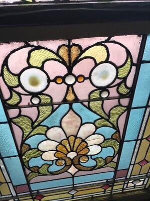 Sg 873 Antique Victorian Jeweled Landing Window 6