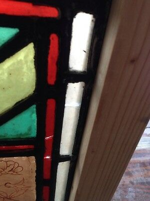 Sg 107 Antique Victorian Stained Glass Window With Rondell's And Painted Pieces 6