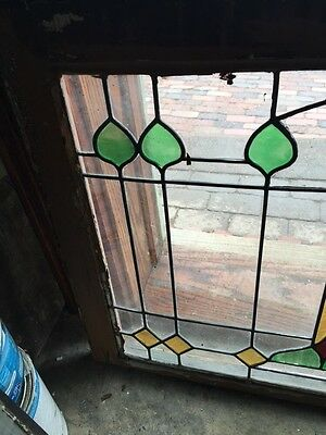 Sg 545 Antique Pair Of Match Stainglass   Arts And Crafts Leaded Windows
