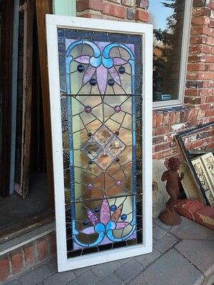 Sg 282 Jeweled Antique Eastlake Transom Stainglass Window 7