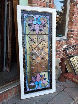 Sg 282 Jeweled Antique Eastlake Transom Stainglass Window 7