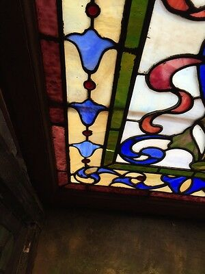 Sg 264 Antique Stainglass And Jeweled Landing Window 5