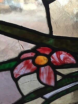 Sg 290 Antique Stained Glass Transom Window W/ 1 Flower