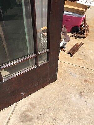 D 225 Antique Oak Painted Townhouse Entrance Door Beveled Glass 11