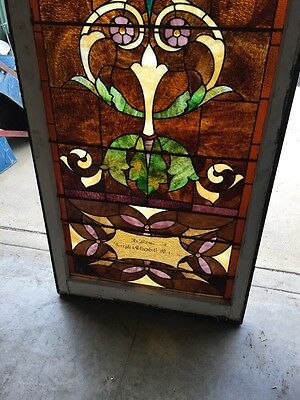 "Ca 9 Antique Stained Glass Landing Window 36"" X 8' 4"