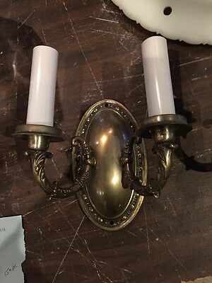 L T 14 Matched Pair Antique To Arm Brass Wall Sconces 3