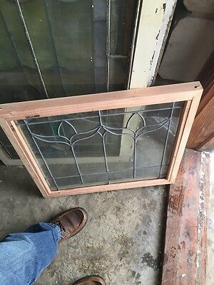"Sg 493 Antique Leaded Glass Window In New Pine Frame 22"" X 24"" 4"