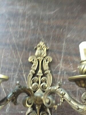 Lc 8 OnePair 2 Arm Heavy Cast Brass Wall Sconces Antique 9