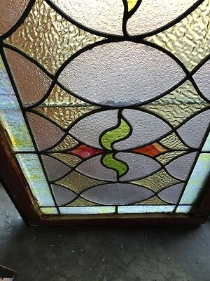 St 383 Antique Triple Sprout Stained Glass Transom Window 6