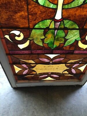 "Ca 9 Antique Stained Glass Landing Window 36"" X 8' 10"