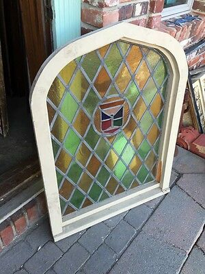 Sg 280 Antique Arched Stained Window 39 1/2 Inches High By 30 1/2 Inches Wide 4