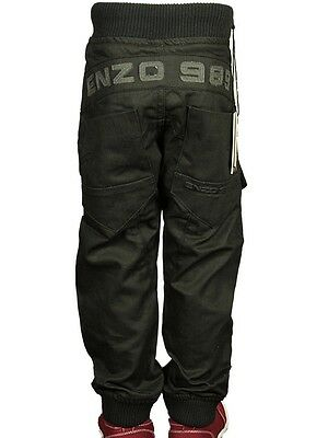 Boy's Babies Jeans Branded ENZO Designer Cuffed Straight Leg Black Pants 7