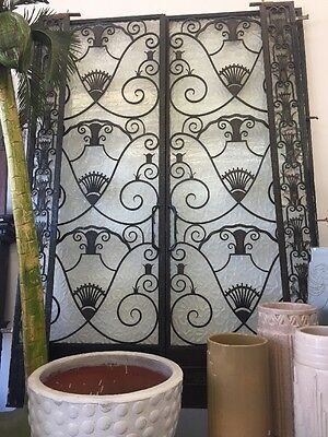 Metal French Doors 1920s Art Nouveau Art Deco Iron W Glass Entry W