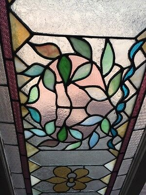 Sg 466 Antique Transom Glass Window Floral Pattern Good Original Condition 5