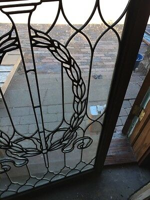 Sg 794 Antique Torch And Wreath Leaded Glass Window 6