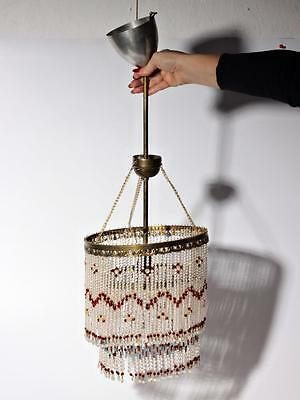 Vintage Czech double layer glass fringe beaded gold tone ceiling chandelier 3