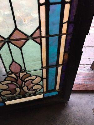 "Sg 892 Antique Stainglass Landing Window 27.25 X 44.5"" 4"