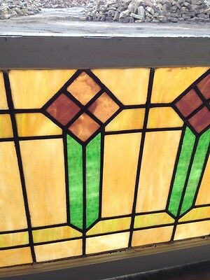 """Sg 56 Arts And Crafts Men Style Antique Stained Glass Window 421/2"""" Wx 25"""" H"""