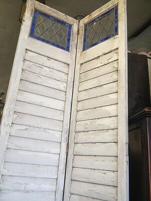Old Wooden Shutters With Leaded Stained Glass 6