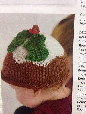 Baby Festive Christmas Pudding Hat Aran Knitting Pattern 0 9