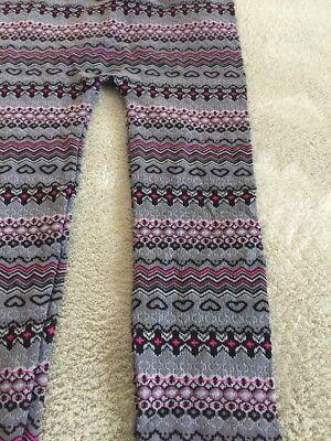 One Step Up Girls Gray Pink Black Hearts Geometric Knit Leggings XL 18 3