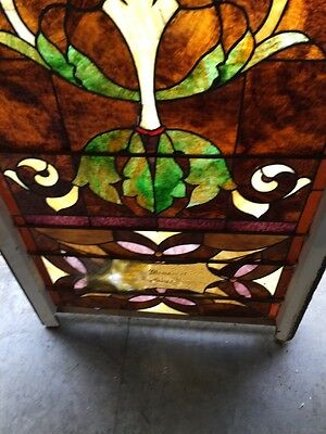 """Ca 10 Antique Stained Glass Landing Window With Jules 36"""" X 8' 5"""