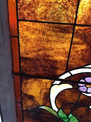 """Ca 10 Antique Stained Glass Landing Window With Jules 36"""" X 8' 10"""